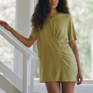 NWT UO Ruched T-Shirt Dress, Olive/Arm